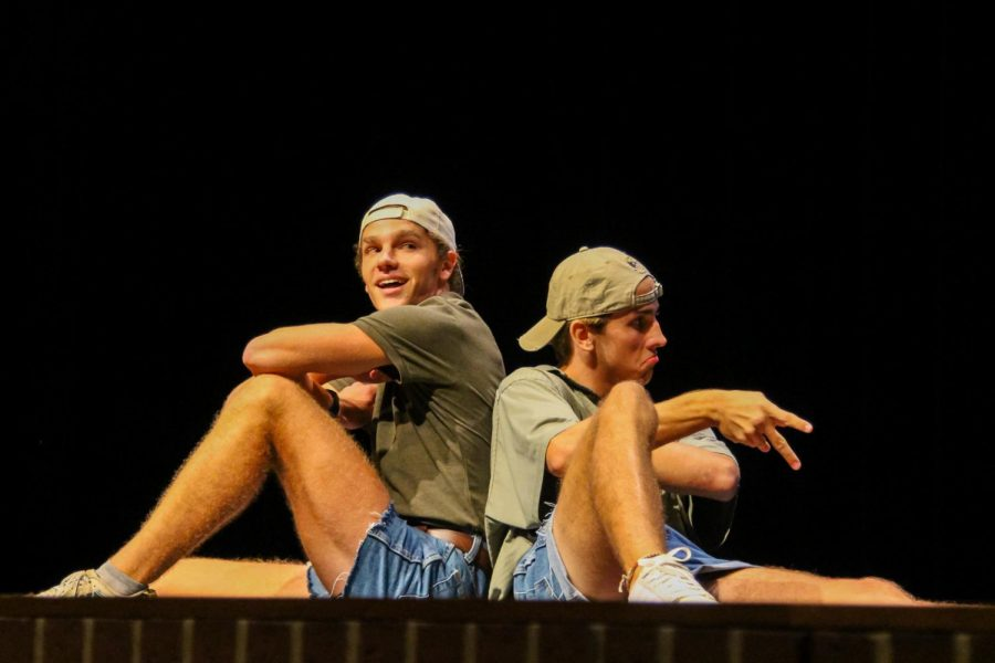 Seniors Jake Piccirillo and Grant Collyer dance during senior Connor Dunns performance. Dunn won the Mr. Lovejoy contest.