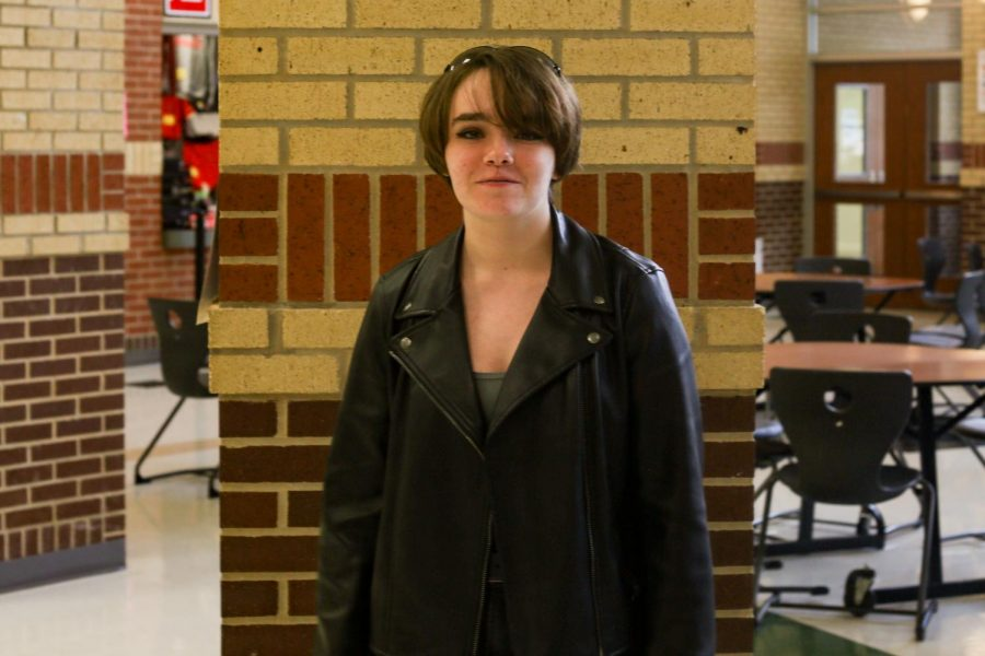 Sophomore Abby Collis participates in Movie Character Monday. Collis dressed up as the Terminator.