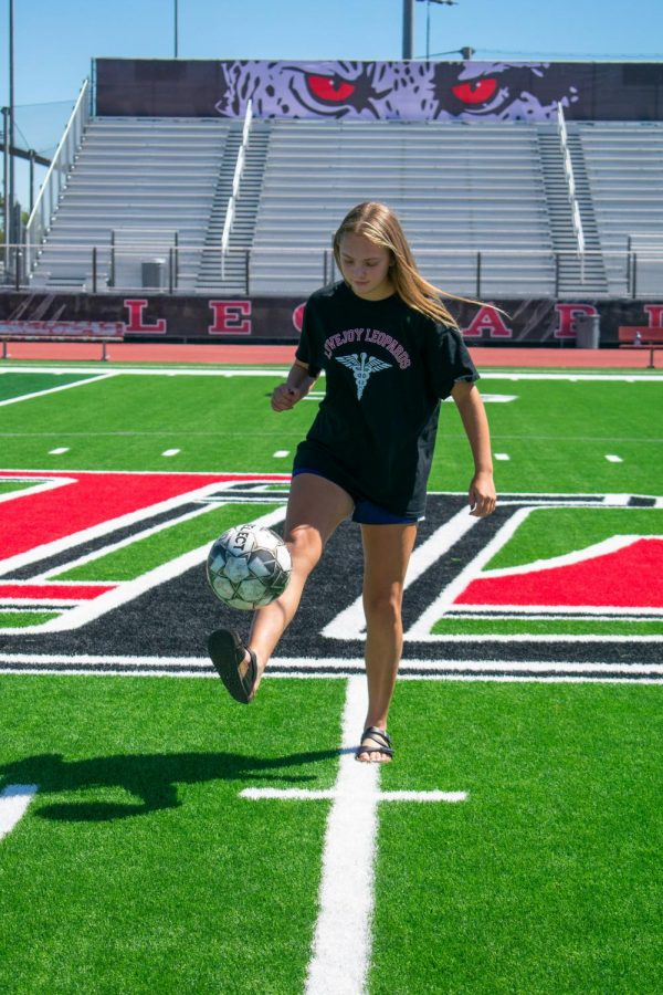Junior Maggie Manders has been playing soccer since she was four years old. Manderss go-to pre-game snacks are granola bars and Gatorade.