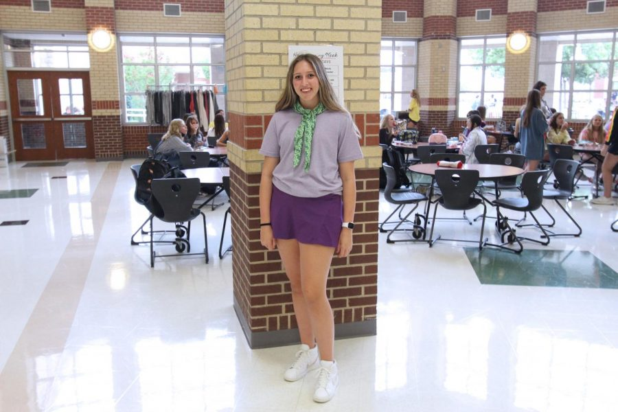 Junior Hannah Dollinger poses as Daphne Blake from Scooby-Doo. Dollinger is a member of student council.