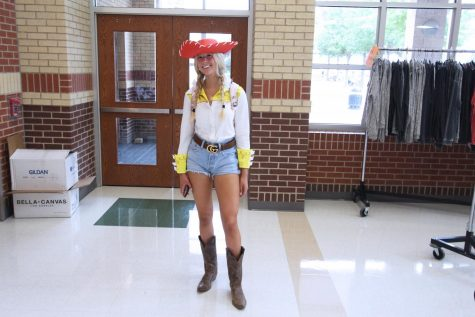 """Senior Sophie Carnes dresses up as Jessie from """"Toy Story."""" Carnes is graduating a year early."""
