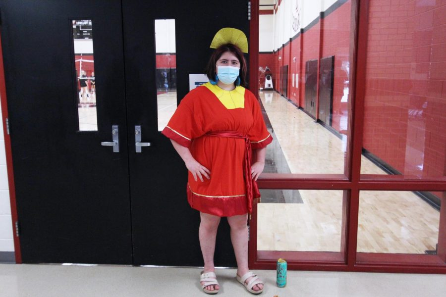 Freshman Juliana Lefort strikes a pose dressed as Emperor Cuzco. Her character is from the Disney movie, The Emperors New Groove.