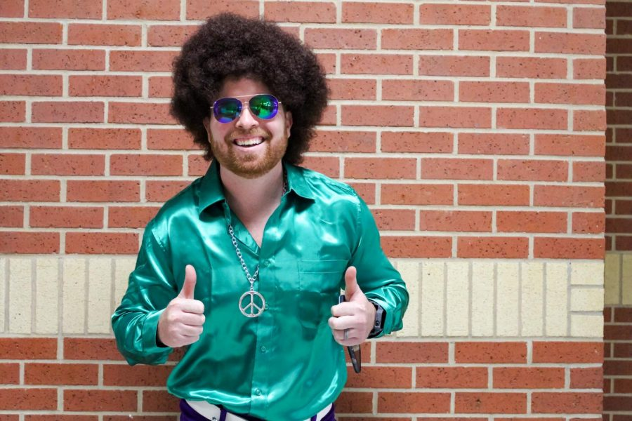 Chemistry and CAT teacher Jared Glaze wears his most disco-funk outfit. Disco was a very popular style in the '70s.