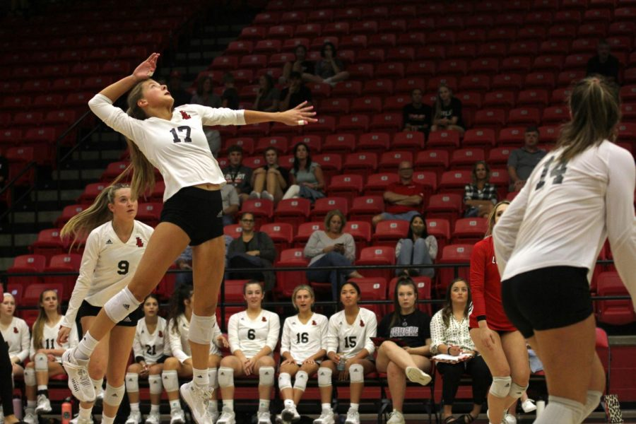 Senior setter no. 17 Rosemary Archer prepares to hit the ball. Archer is committed to Pepperdine.