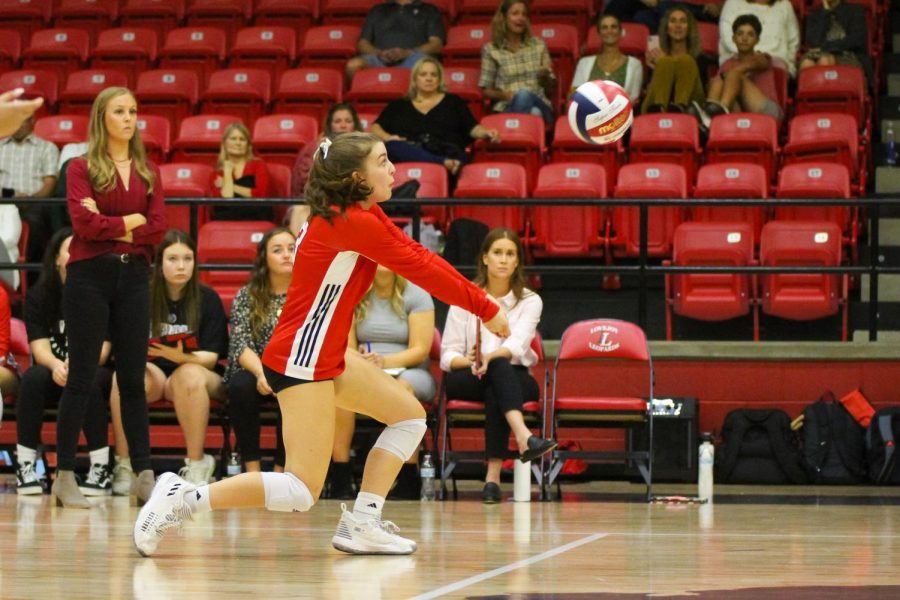 Sophomore defensive specialist no. 3 Mckenna Brand bumps up the ball. Brand had eight digs in the game.