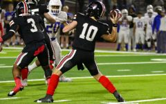 Sophomore quarterback no. 10 Alexander Franklin sets up to throw the ball down the field. The Leopards scored five touchdowns against Frisco.