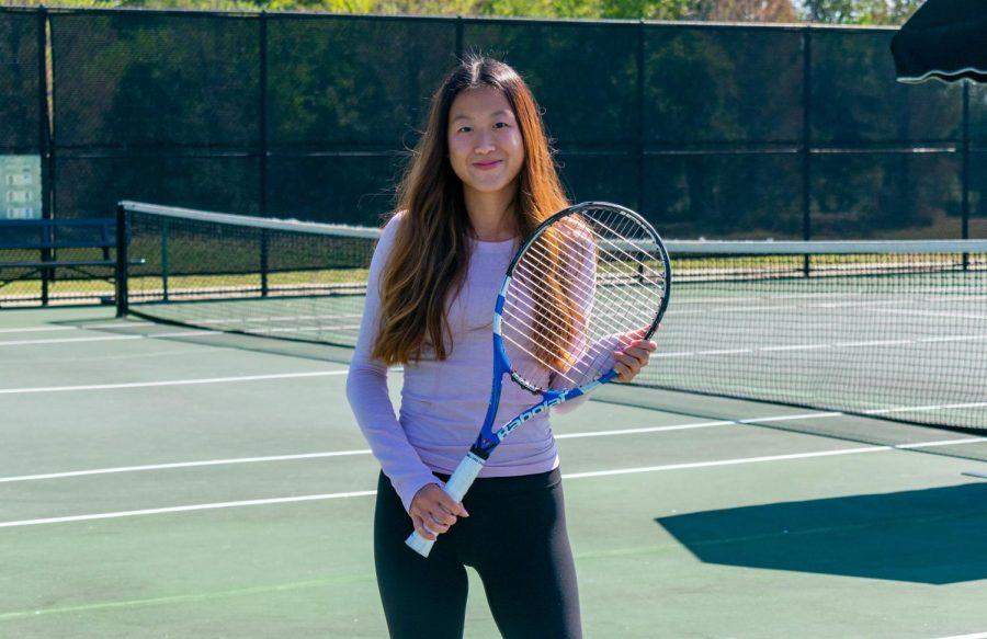 Senior Holly Xue plays tennis. Xue is also a National Merit Scholar.